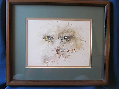 FRAMED PICTURE/PRINT/LITHOGRAPH...ANOTHER KITTY by NEWEY 85...GEORGOUS CAT EYES!