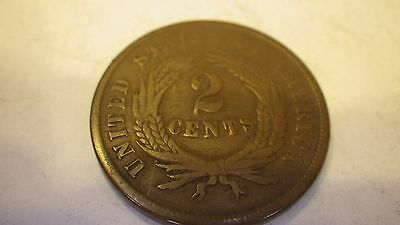 1865  Us  Two Cent Copper   Looks To Be Vf