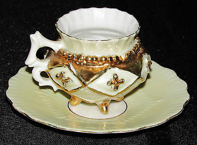 Fancy Vintage Tea Cup And Saucer Gold And Yellow Cream