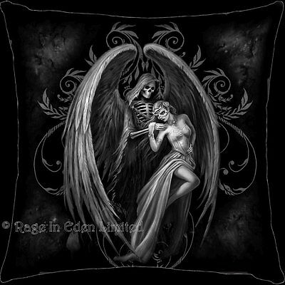 *DANCE WITH DEATH* Goth Fantasy Reaper Skull Art Black Cushion By Anne Stokes
