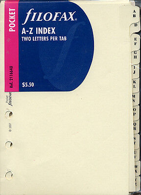 Filofax Accessories A-Z Index, Two Letter Pocket Size - FF-211664