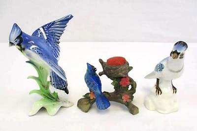 Lot of 3 Blue Jays Statue Ceramic Figurines Collectible Birds