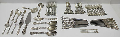 Gorham Strasbourg Sterling Silver Flatware 12 Place Settings - 77 Pieces