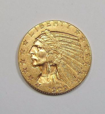 1909 GOLD Indian Head Half Eagle $5 Coin ALMOST UNCIRCULATED