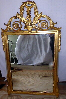 "Antique Louis XVI Ornate Carved Neoclassical Gilt Wood Mirror 24"" x 45"""
