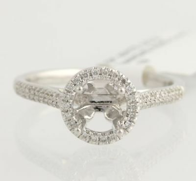 NEW Halo Semi-Mount Engagement Ring for 6.5mm Round - 18k White Gold .19ctw