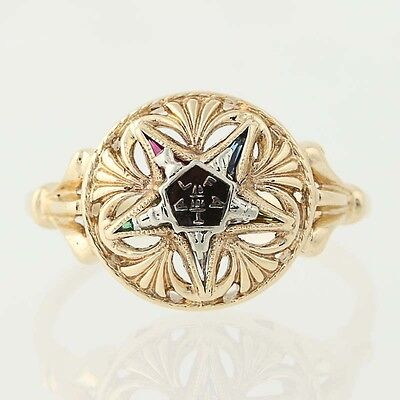 Order of the Eastern Star Ring - 14k Yellow & White Gold Synthetic Gemstones OES