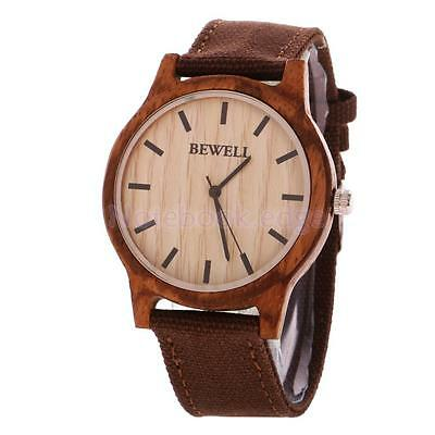 Luxury Men's Women's Bamboo Wood Watch Quartz Canvas Wristwatches w/Box
