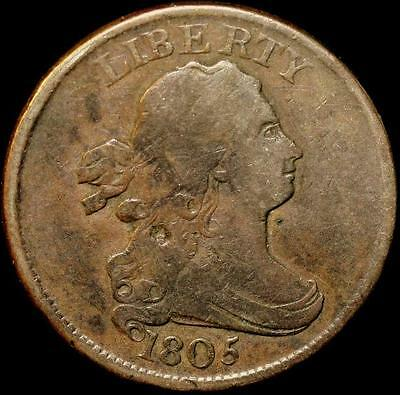 1805 Draped Bust Half Cent Coin 1/2c