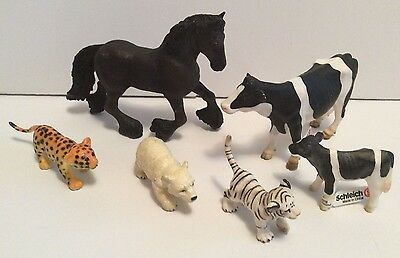 Lot Of 6 Schleich Animals Horse, Cow, Calf, Polar Bear, Tiger Leopard Cub