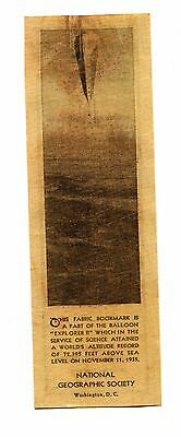 Vintage Bookmark NATIONAL GEOGRAPHIC EXPLORER II Balloon Fabric Army Air Corps