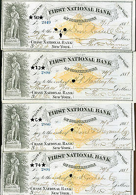 checks-lot of 8-1881-First National Bank-Cooperstown, New York
