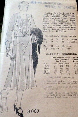 RARE VTG 1930s DRESS Sewing Pattern BUST 40 OLD DEADSTOCK