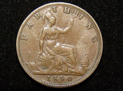 1890 Great Britain Farthing Coin Lot 237