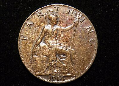 Very Nice 1914 Great Britain Farthing Coin Lot 234