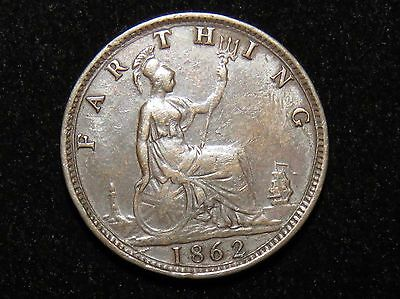 Nice 1862 Great Britain Farthing Coin Lot 228
