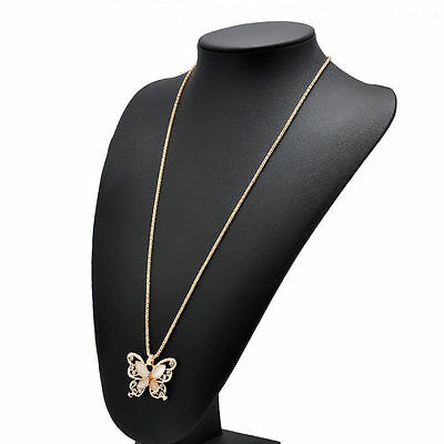 Women Rose Gold Opal Butterfly Charm Pendant Fashion Long Chain Necklace Jewelry