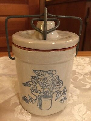 Vintage Gray Cheese Crock With Seal & Wire Bail