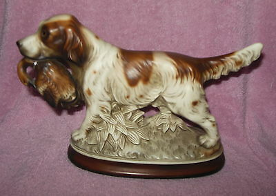 Vintage Signed M. Takai Japan Porcelain Hunting Dog With Duck Figurine