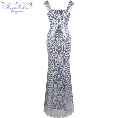 Angel-fashions Women Silver Sequin Floral Pattern Mermaid Party Dress 308