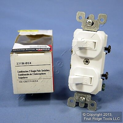 Cooper White DOUBLE Wall Light Switch Duplex Toggle 15A Single Pole 271W Boxed