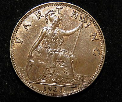 Very Nice 1931 Great Britain Farthing Coin Lot 217
