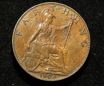 Very Nice 1903 Great Britain Farthing Coin Lot 216