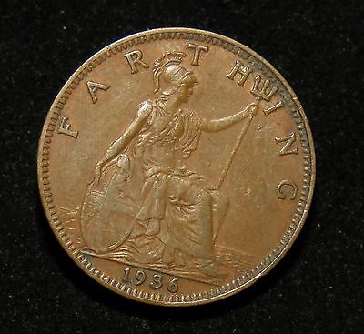 Nice 1936 Great Britain Farthing Coin Lot 212