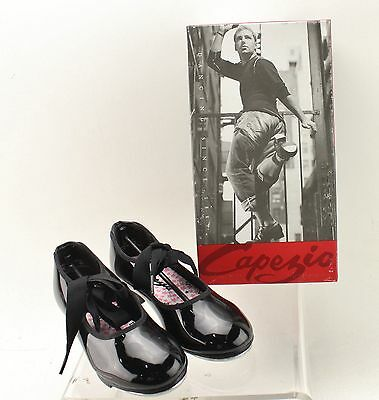 New With Box Girl's CAPEZIO Black Tap Shoes Size 11.5M