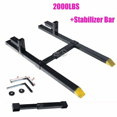 "43"" Clamp on Pallet Forks 2,000 lb Capacity w/ Stabilizer Bar for Loaders Chain"