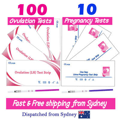 100 Ovulation Tests 10 Pregnancy Tests LH hCG Urine Strips Fertility OPK Kits