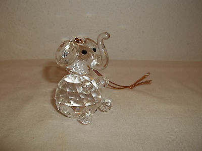 """Faceted Crystal Miniature Elephant Ornament 2"""" Tall"""