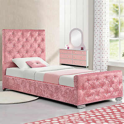 Girls Pink Crushed Velvet Princess Single Bed Frame with Under Bed Storage