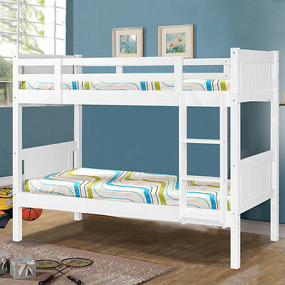 White Wooden Bunk Beds for Kids Childrens Bedroom Single Size- Splits into 2