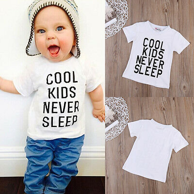 Toddler Baby Boy Kids Letter Print Short Sleeve Tops T-Shirt Summer Tees Clothes