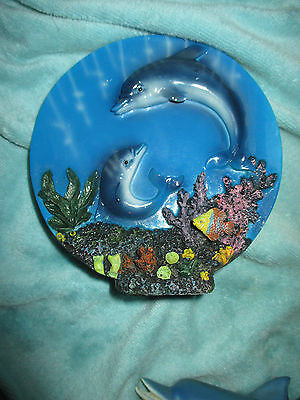 Dolphin figurine figure The ocean is the limit dolphin home decor plate