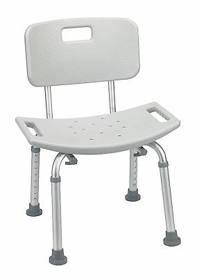 Drive Medical Bathroom Safety Shower Tub Bench Chair With Back Gray Rtl12202kdr