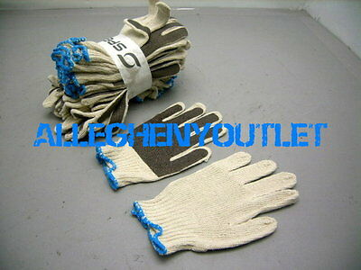 6 Pair Poly/Cotton Stretch PVC Coated ANTI SLIP Palm Work Gardening Gloves NEW