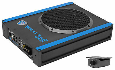 "Rockville USS8 8"" 600w Slim Under-Seat Active Powered Car/Truck Subwoofer Sub"