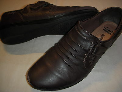 Clarks Everlay Coda Ruched Leather Slip On Shoes Loafers Womens 9.5 W Brown /s