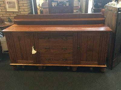 Antique 19th Century Wooden Victorian Pitch Pine Sideboard With Cupboards