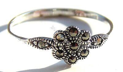 925 Sterling Silver Marcasite Flower Ring, Size J - T