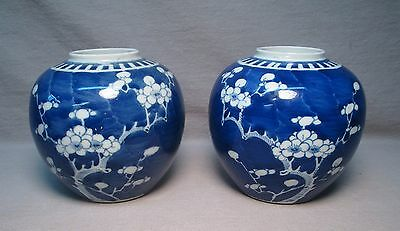 Pair Chinese QING DYNASTY Blue & White Prunus Blossom Bulbous Vases