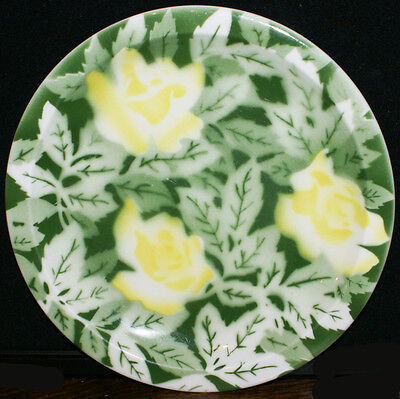 """Syracuse Restaurant Ware China * Airbrushed Yellow Floral and Green Plate 9 3/8"""""""