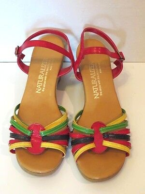 Vintage 1970's Naturalizer colorful strappy wedge sandals shoes heels 8 M