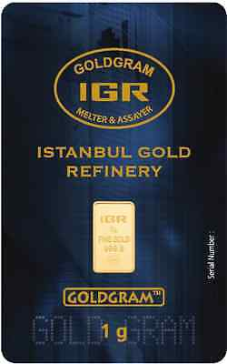 2 X 1 Gram 999.9 24K Istanbul Gold Refinery Bar IGR ( In Assay )