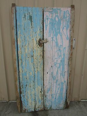 Antique Pair Mexican Old-Vintage-Primitive-Rustic-38x73-Barn Doors-Blue