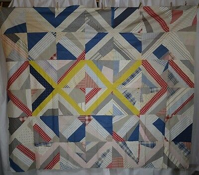 quilt top cotton patchwork blue white antique vintage Edwardian 1900s
