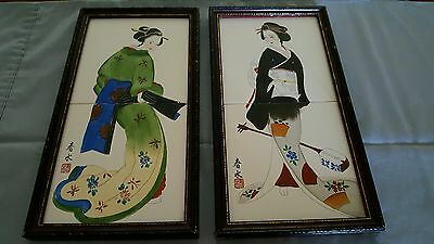 Vintage Japanese Royal Seal Framed Handpainted Artist Signed Tiles - Set Of 2