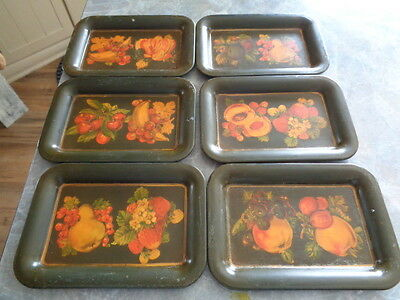 Lot Of 6 Vintage Metal Small Fruit Trays / Platters